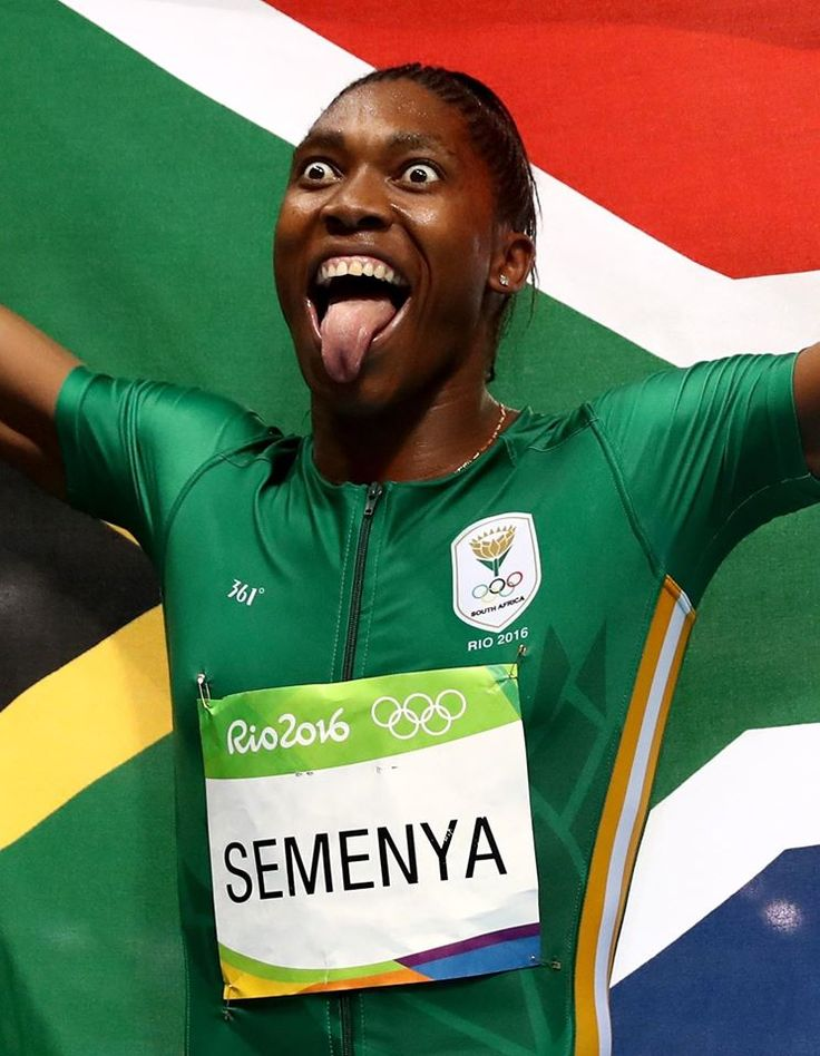 Caster Semenya of South Africa reacts after winning gold in the Women's 800 meter Final!