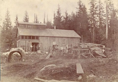 Columbia Brewery at Cedar Cove, on the north side of Powell Street at Wall Street and Victoria Drive, 1892. (Photo via Vancouver Archives)