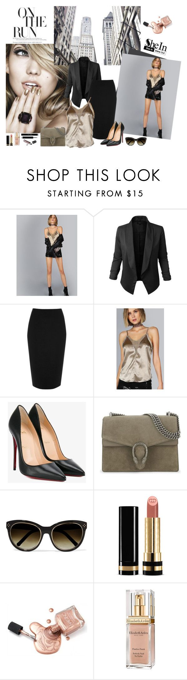"""Chic look"" by laila-cervantes ❤ liked on Polyvore featuring Jupe de Abby, River Island, Christian Louboutin, Gucci, Chloé and Elizabeth Arden"