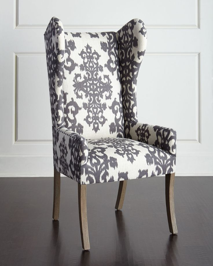 """Wingback chair has alder wood frame and linen upholstery. 25""""W x 21""""D x 52""""T…"""