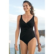 TravelSmith (Miracle swimsuit, all sizes, Miracle swim shorts are also available....awesome fit/comfortable and yes, everyone should own a swimsuit!)
