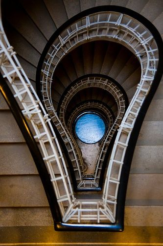 ". The stairs in ""House of the black Madonna"" in Prague, Czech Republic."