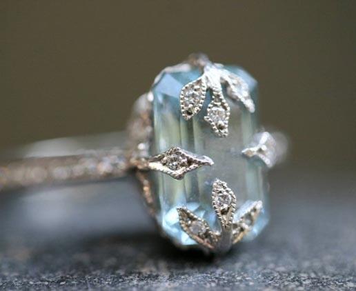 Cathy Waterman Diamond Aquamarine Emerald Cut Forest Ring