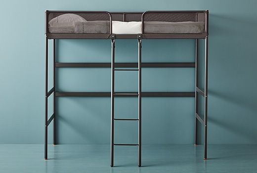 Loft beds and bunk beds from IKEA are a useful solution when you need to create a sleeping area, but don't have much space. Take TUFFING in dark grey steel, for example, and make your own bedroom/office combo!