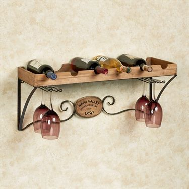 Napa Country Wine Shelf with Stemware Rack