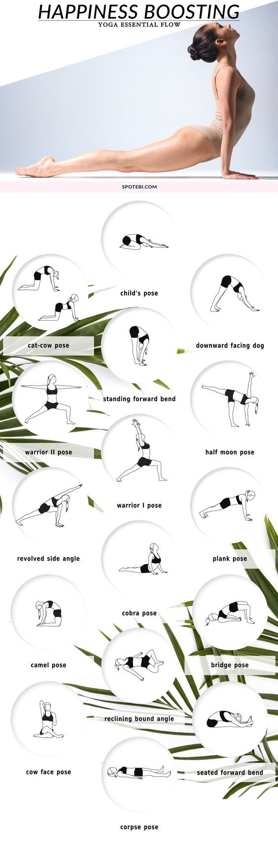 Do you need a quick boost of happiness? If so, hop on the mat and follow this 20-minute yoga essential flow. Forget your troubles, boost your energy and create a lighter, happier you! http://www.spotebi.com/yoga-sequences/happiness-boosting/: