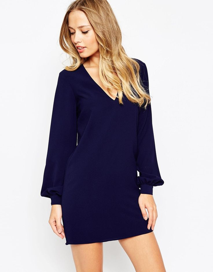 Image 1 of ASOS Shift Dress with V Front and Bell Sleeves