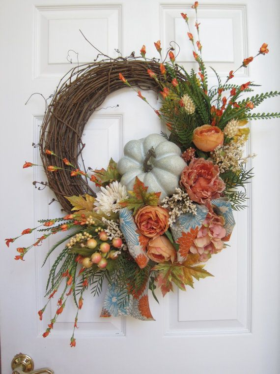 NEW! FALL WREATH- Late Summer Wreath, Autumn Wreath, Front Door Wreath, Peach, Turquoise, Cabbage Roses, Peonies, Pumpkin, Grapevine Wreath