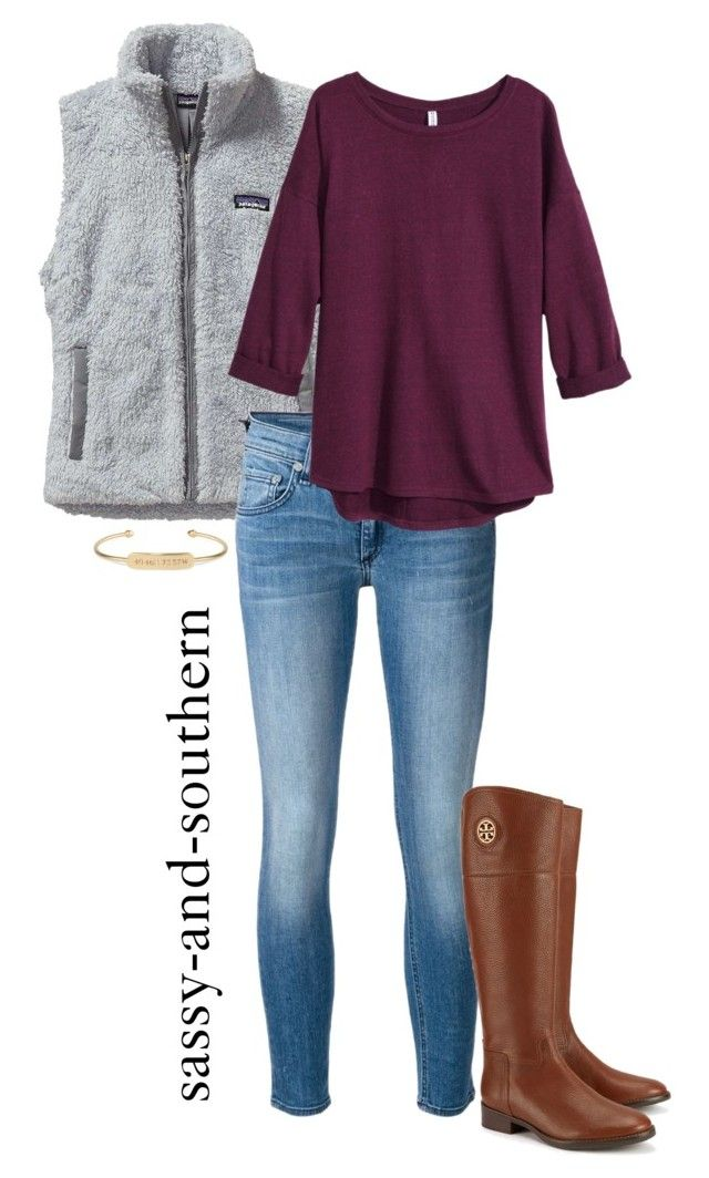 """""""fall outfit"""" by sassy-and-southern ❤ liked on Polyvore featuring Patagonia, rag & bone/JEAN, H&M, Tory Burch and Stella & Dot"""
