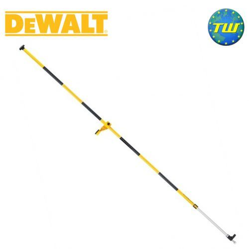 """http://www.twwholesale.co.uk/product.php/section/10403/sn/DeWalt-DE0882-XJ DE0882 Floor-to-Ceiling Laser Pole is a ¼ inch threaded pole with a maximum 3.4M working height. Compatible with DeWalt's DW0811, DW087K, DW088K, DW089K, DW082K and DW084K lasers.  DeWalt DE0882 Laser Pole Specification Reinforced fixing arm platform 360 degree horizontal rotation with no height change Reinforced design Easy to set up and use 1/4"""" thread Weight 2kg"""