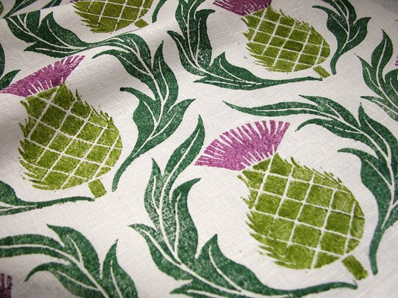Scottish Thistle hand printed linen 1/2 yard by giardino on Etsy - I love this fabric
