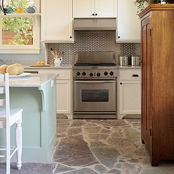 Love the use of flagstone on the floorCabinets Colors, Kitchens Floors, Green Hues, Rustic Flagstone, Coastal Colors, Flagstone Floors, Casual Kitchen, Watery Blue, Stones Floors