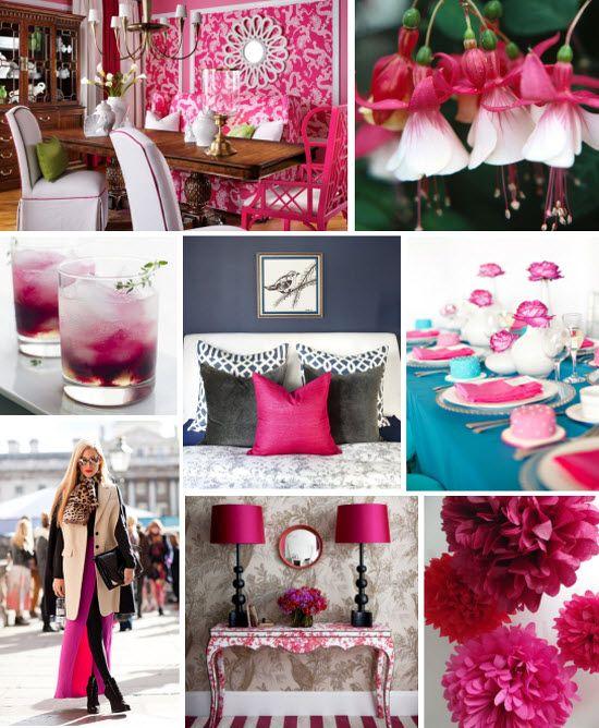 Fuchsia decor.: Things Pink, Pop Of Colors, Pretty Pink, Bridal Shower Ideas, Colors Schemes, Colors Kitchens, Mood Boards Mondays Fuchsia, Parties Colors, Colour Combos