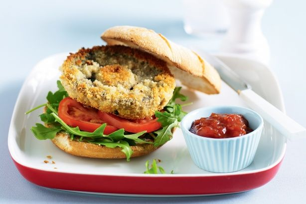 Flavour-packed mushroom patties replace meat in these speedy vegie burgers.