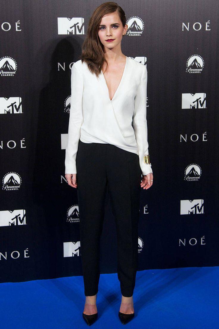 Emma Watson (March 2014): at Madrid premiere of Noah, wearing J.Mendel jumpsuit & Gianvito Rossi heels: