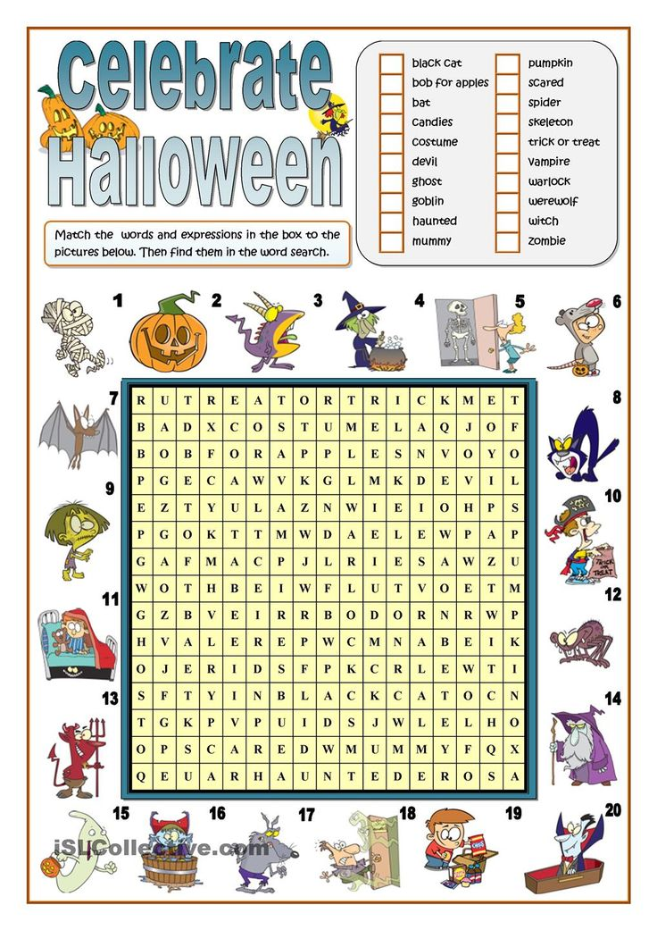 Classroom Decoration Word Worksheets ~ Celebrate halloween word search esl worksheets of the