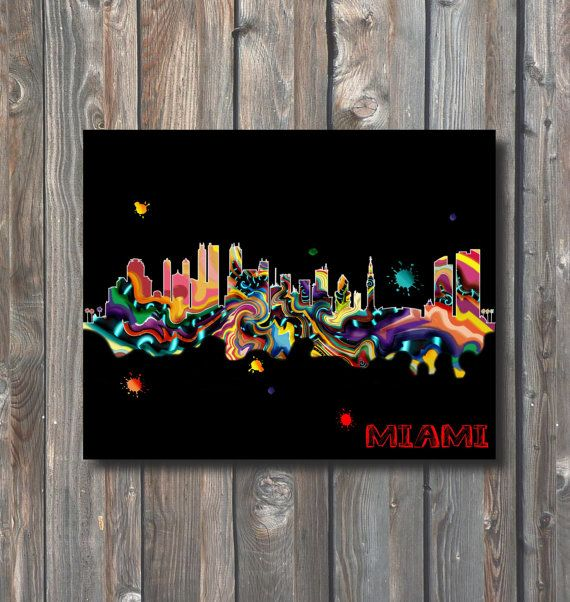 PRINTABLE Miami Skyline Wall Art-Printable by HappyFiestaDesign