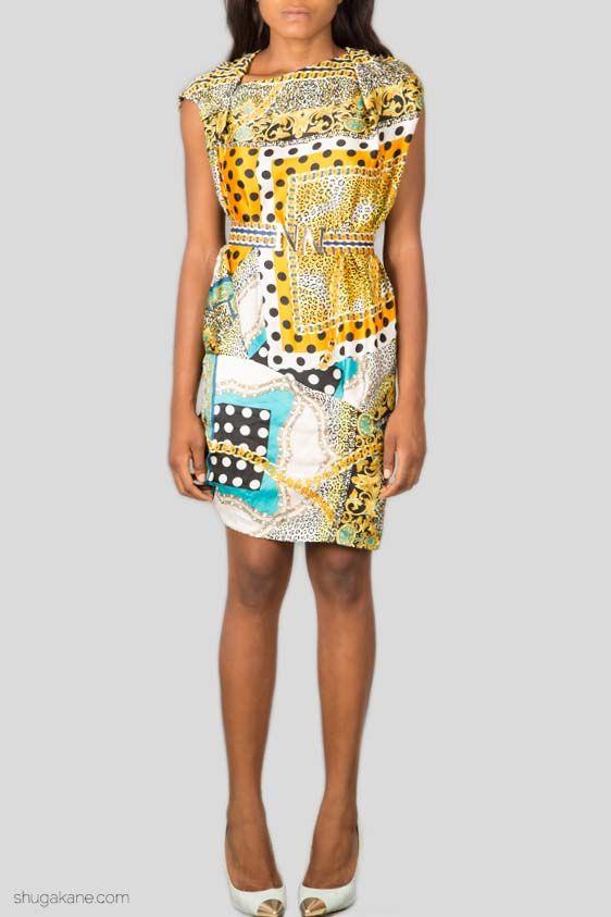 Paisley Print Silk Dress with Belt http://shugakane.com.ng/shop/dresses/paisley-print-silk-dress-with-belt/