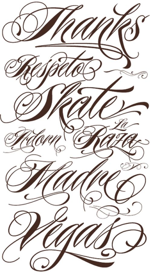 Tattoo Lettering Fonts Script Tattoos Pinterest