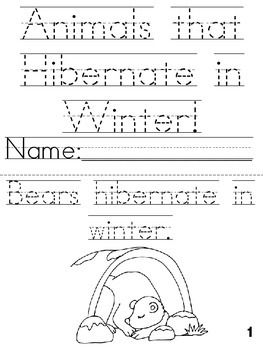 animals that hibernate in winter cut trace color printable book to be mini books and the. Black Bedroom Furniture Sets. Home Design Ideas