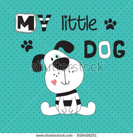 cute dog cartoon, T-shirt design for kids vector illustration