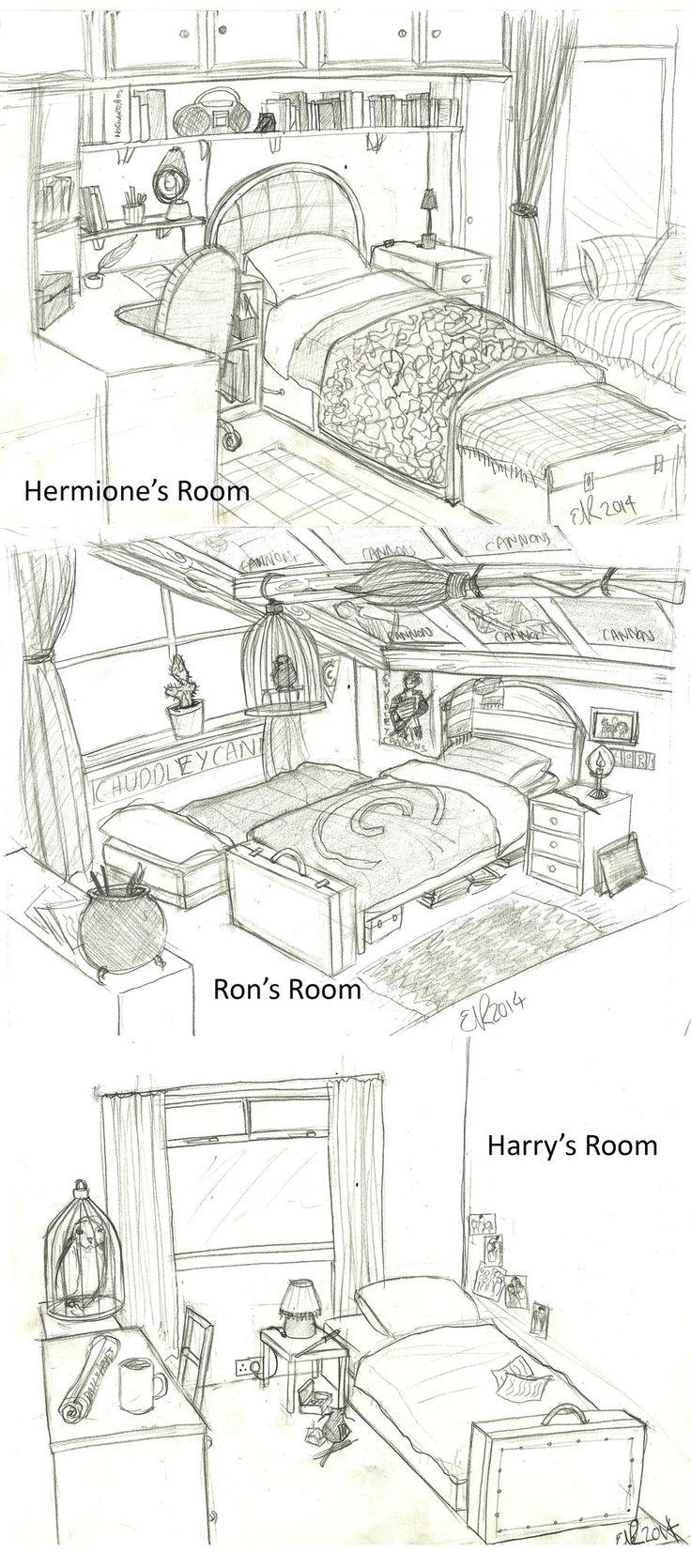 Harry Potter: Bedrooms by Catching-Smoke.deviantart.com on @DeviantArt