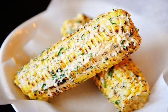 "Mexican ""Grilled"" Corn - A Great Summer Side Dish with lime and cilantro and garlic and more yummo stuff!  Gotta make this!"