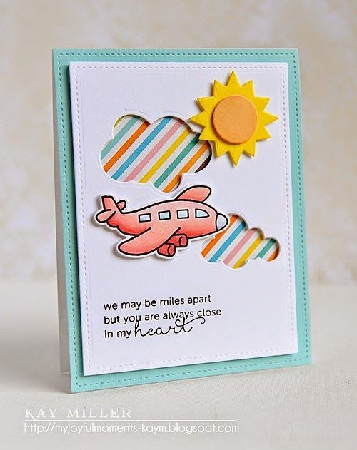 My Joyful Moments—Stamps: Bon Voyage-Lawn Fawn, In My Heart- Mama Elephant Dies: Stitched Rectangesl - Lawn Fawn, Sunshine- Taylored Expressions, Clouds- Papertrey Ink