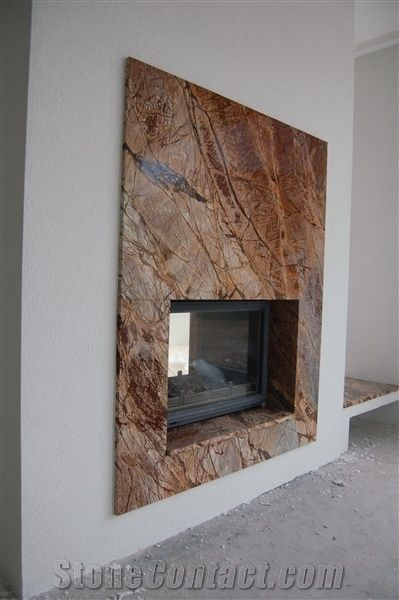 Rainforest Gold Marble Fireplace Surround, Brown M…