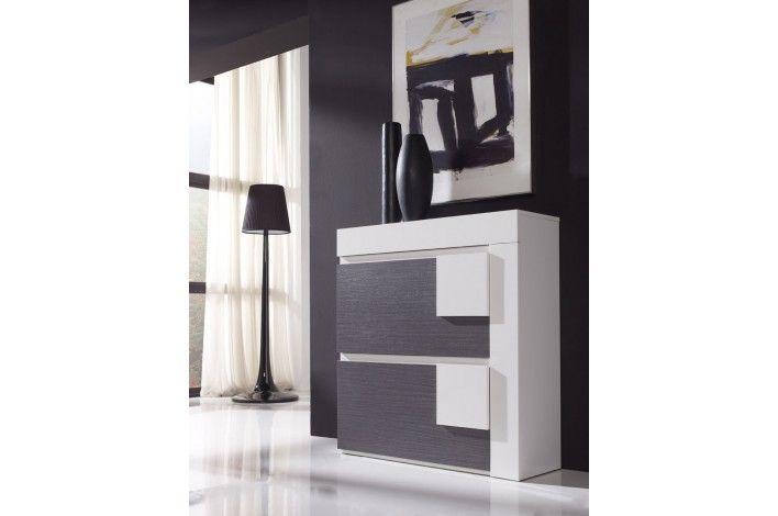 #Zapatero de 2 puertas abatibles + cajón, con un original diseño en colores blanco y ceniza. | #Merkamueble #TodoEnOrden