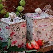 """Для дома и интерьера ручной работы. Ярмарка Мастеров - ручная работа """"Клубничный чай"""" - две баночки для чая, сахара, пряностей... Handmade."""