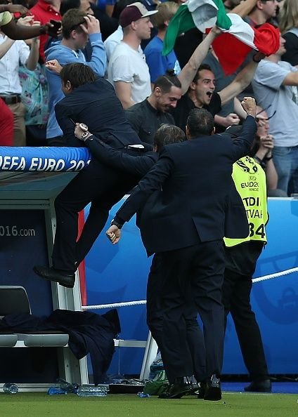 #EURO2016 Italy manager Antonio Conte celebrates his side's second goal during the UEFA Euro 2016 Round of 16 match between Italy and Spain at Stade de France...