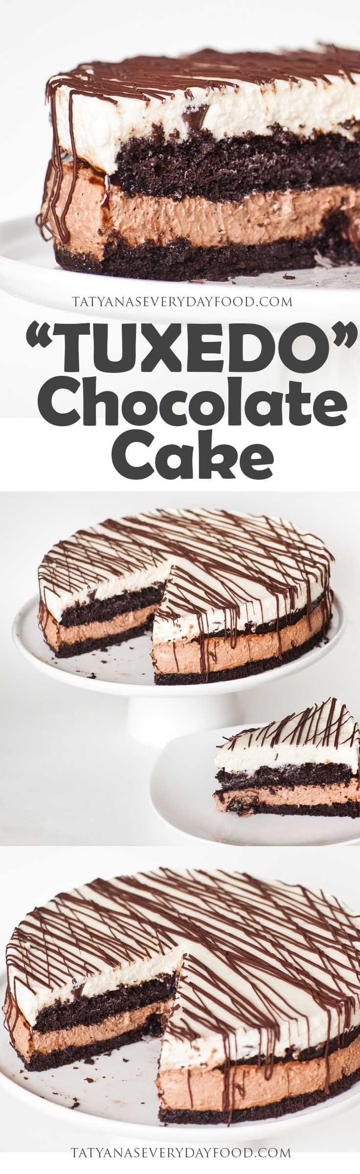 """Tuxedo"" cake is a cake like no other! Made with two layers of no-bake cheesecake filling and rich, chocolate cake layers, which are soaked with chocolate syrup and caramel sauce! Every bite of this cake is heavenly and melts in your mouth! The combination of cheesecake and chocolate is irresistible! Watch my video recipe for […]"