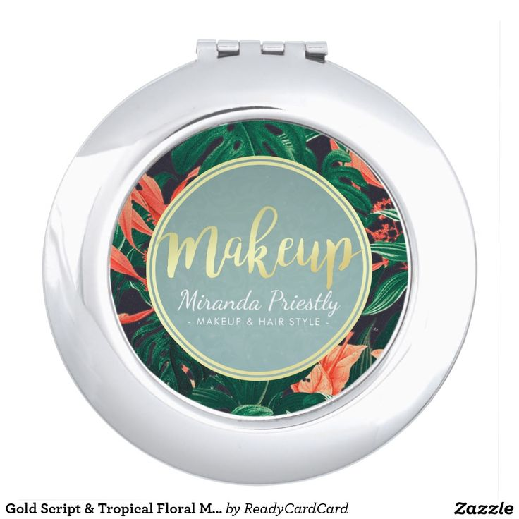 Gold Script & Tropical Floral Makeup Beauty Salon Vanity Mirror