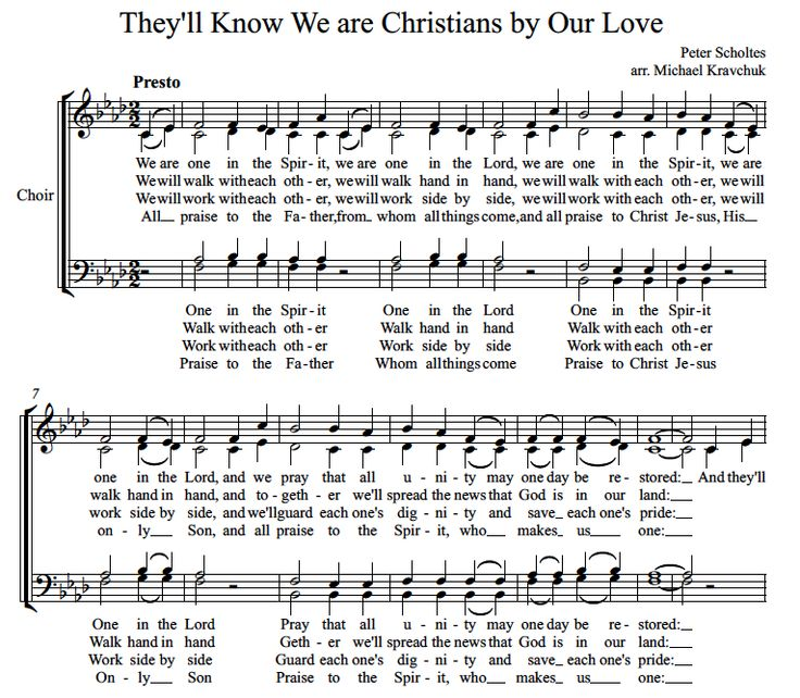 Sheet Music Printable Sheet Music And Hands On Pinterest: They'll Know We Are Christians By Our Love, Free Sheet