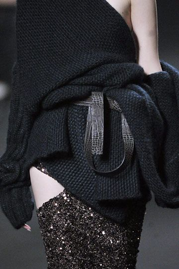 Chunky knitted top & sparkly embellished dress with cut outs; layered fashion details // Haider Ackermann