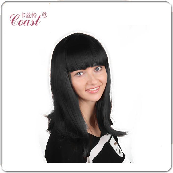 女性の長いストレート髪女性ロングストレート黒かつら合成繊維デラックスパーティークレオのかつら+無料ネットQY-9001