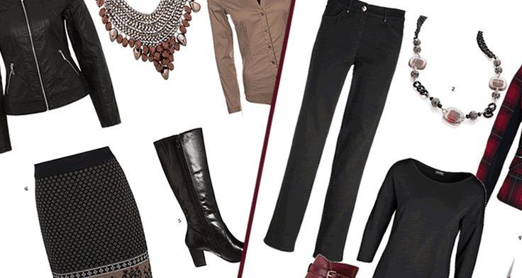 Kleding vrouwen 50 plus voorbeelden van vlotte kleding die past bij de leeftijd, 4 complete sets met broek, rok, trui en laarzen voor najaar 2013-2014.