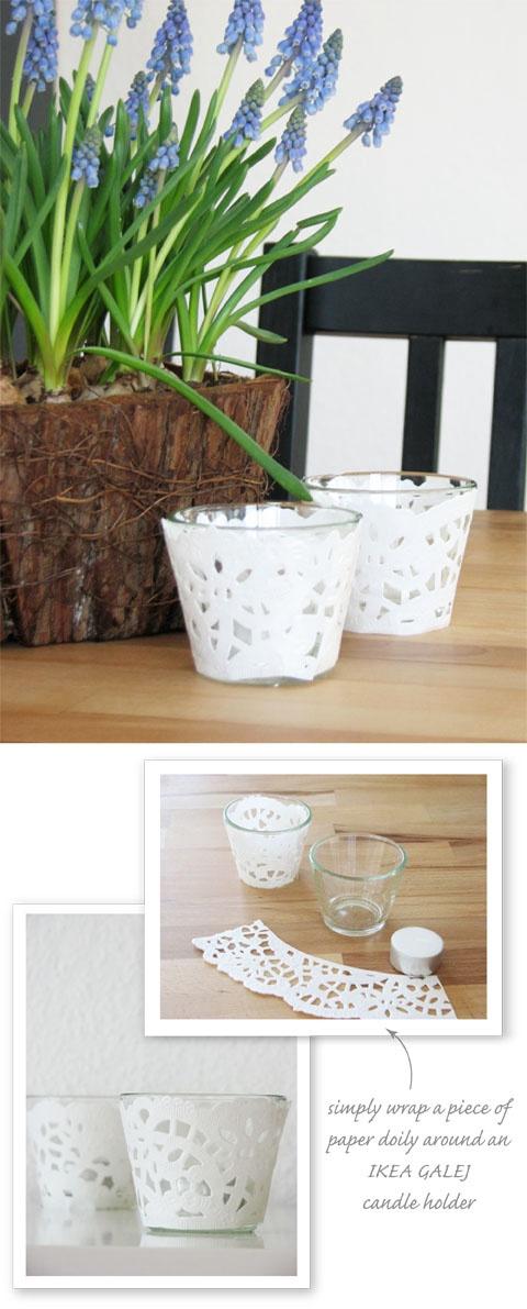 Statt der Marmeladengläser (oder zusätzlich?) die kleinen Ikea-Teelichthalter plus Glasflasche mit Blume?