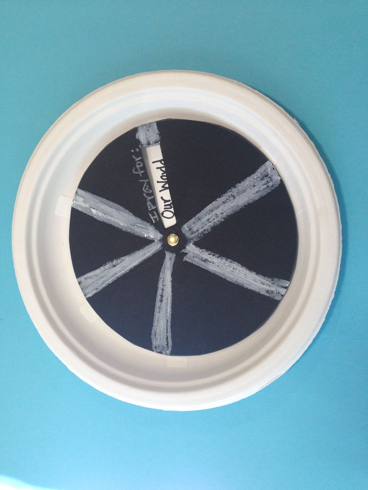 Option for Day 2: Prayer wheel- paper plate, black card stock, white crayons, brad + stickers with prayer recipients listed (can hand write directly on plate with marker or use pre-printed stickers)