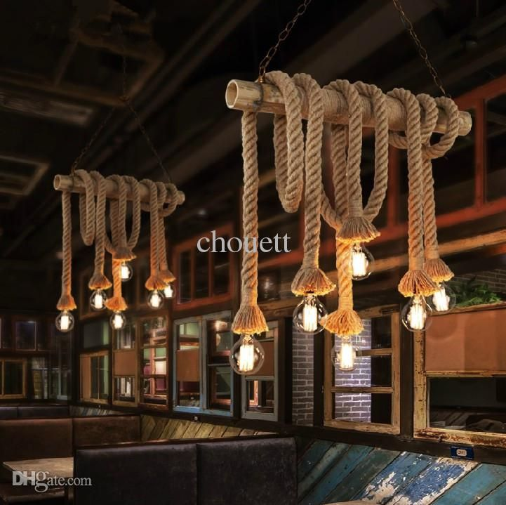 Wholesale Single Bulb / 2 Bulbs Creative Personality Rope Pendant Lights Vintage Restaurant Lamp Dining Room Pendant Lamps Hemp Rope Light Ceiling Light Fittings Hanging Light Fixtures From Chouett, $18.95| Dhgate.Com