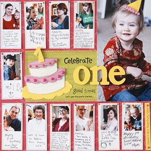 Love this idea! Take photos of each party guest and have them write a note to the birthday girl/boy to later put on a layout. Such a fabulous memory for baby!