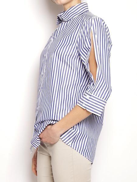 FEDERICA TOSI Camicia a righe in cotone FTE17CA077 Bianco/Blu Camicie - TRYMEShop