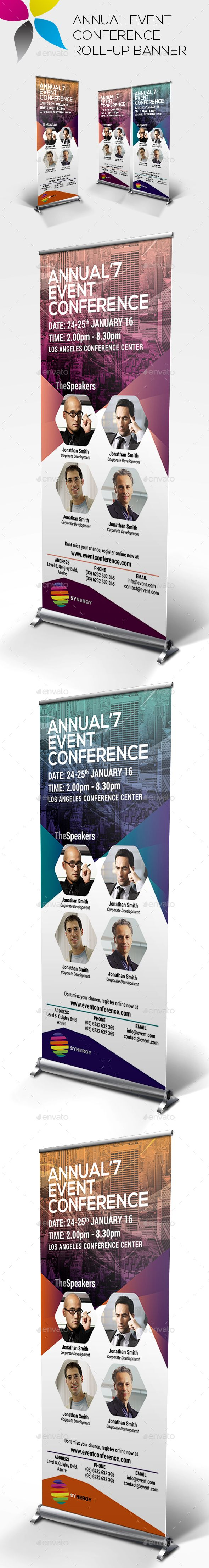 Annual Event Conference Roll-up Banner Template PSD