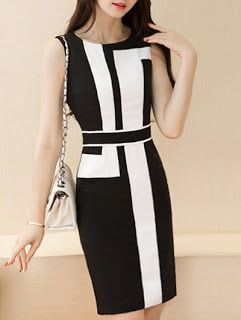 Tanya's Eye Catching Statements! : Chic Hit Color Sleeveless Dress For Women
