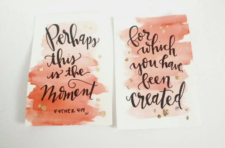 Hand Lettered Original Set of Two 4x6 Pink and Orange Watercolor Esther 4:14 Bible Calligraphy Quote