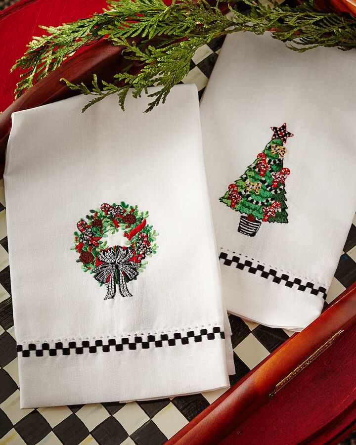 Mackenzie child's Christmas green towels...super cute! Perfect for a small holiday touch anywhere in the kitchen or bathroom! Aff