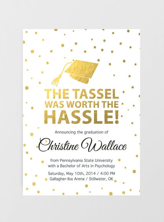 Printable Graduation Invitation, Graduation Announcement, tassel was worth the hassle, Grad Invite, Graduation Party, College Graduation