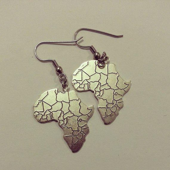 Africa Map Earrings by JewelsByLisaLucy on Etsy