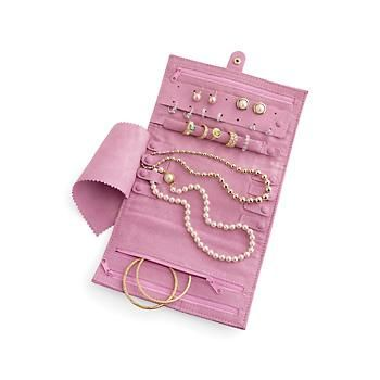 Dusty Rose Suede Jewelry Travel Case
